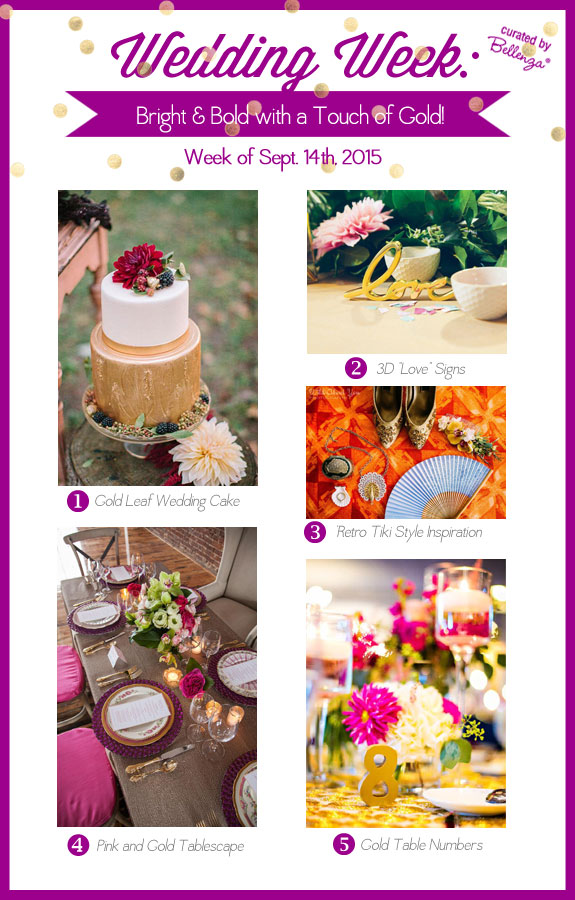 Bright and bold weddings with a touch of gold! Think hues in red, fuchsia, purple, and tangerine!