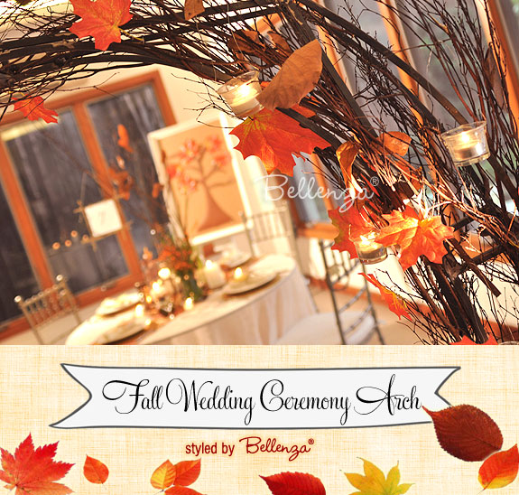 Fall arch in a wedding reception area for an intimate reception.