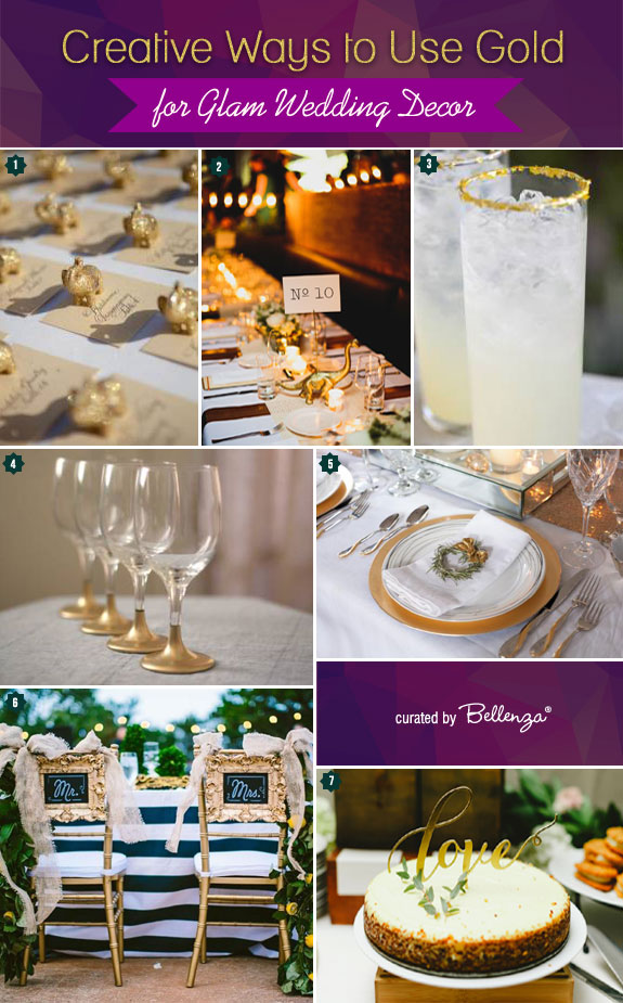 Gold wedding decorations that aim to make a glamorous wedding from cake toppers to chair decorations.
