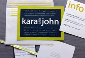 Modern invites. Photo by Ginger P. Designs from etsy