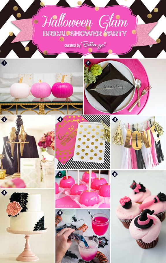 Throw a festive Halloween Glam Bridal Shower in a Chic Palette of Pink, Black, and Gold.
