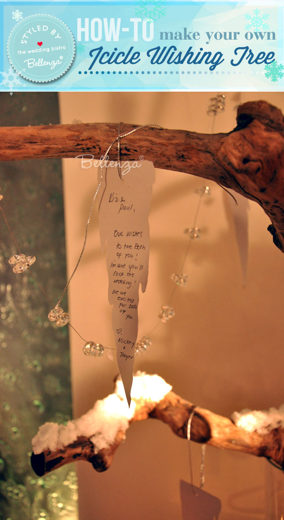 A Winter Wonderland Alternative Guestbook Idea with a Wish Tree of Icicles // styled shoot by the Wedding Bistro at Bellenza.