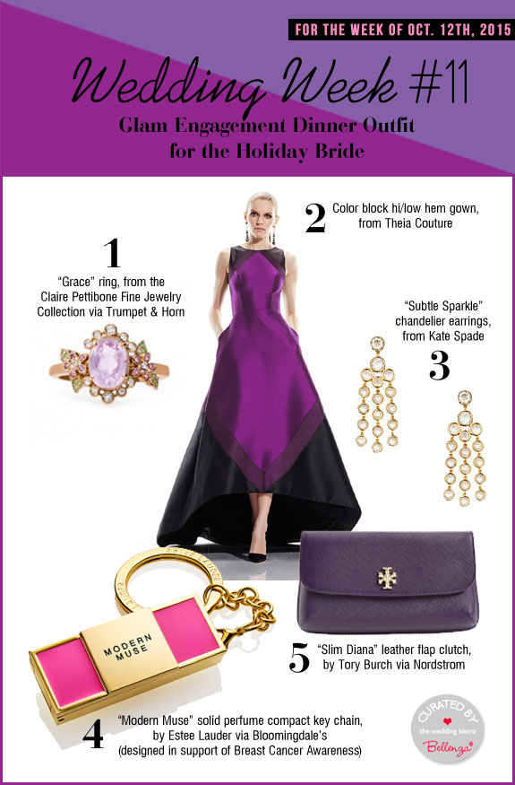 Sophisticated style board for a holiday engagement outfit.