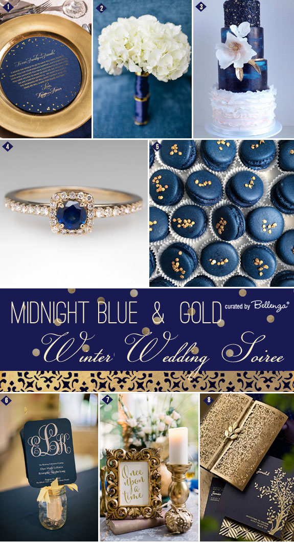 Winter Wedding Inspiration in Midnight Blue and Gold! A Winter Wedding Soiree Series by the Wedding Bistro at Bellenza.
