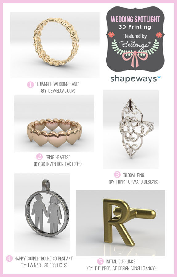 Shapeways! 3D printing as featured on the Wedding Bistro at Bellenza.