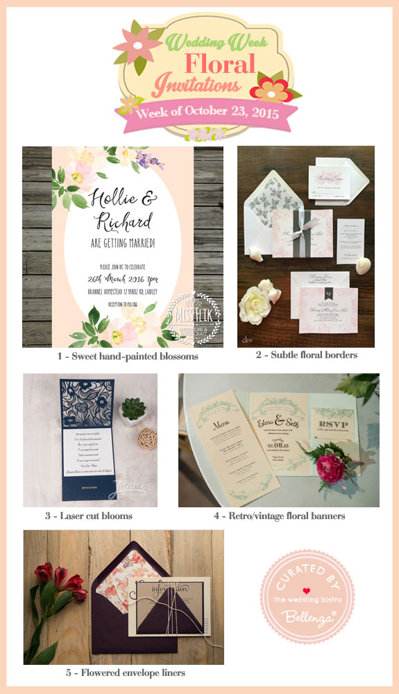 Floral-inspired Wedding Invitations as featured on the Wedding Bistro at Bellenza