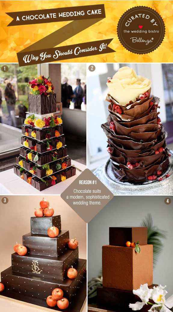 Dramatic and Delectable Chocolate Wedding Cake Designs as Featured on the Wedding Bistro at Bellenza