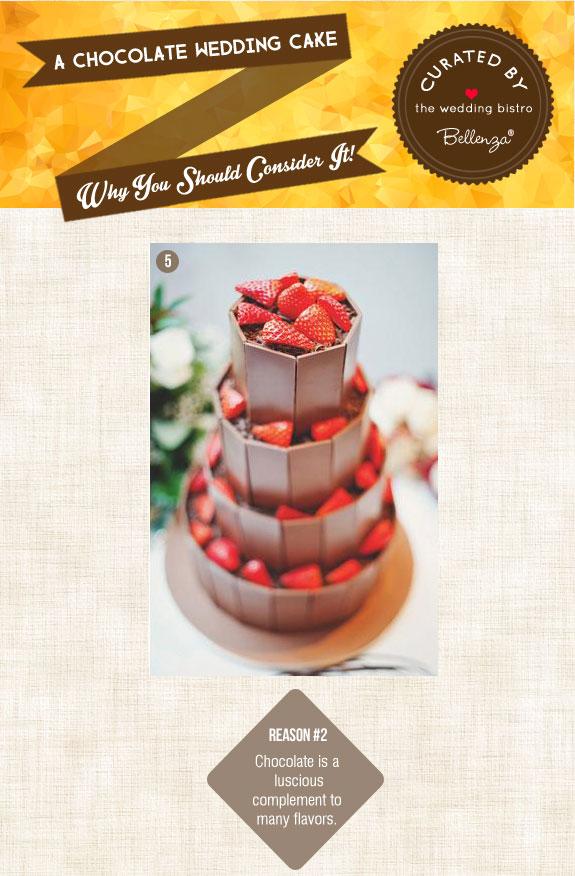 Chocolate wedding cake with strawberries