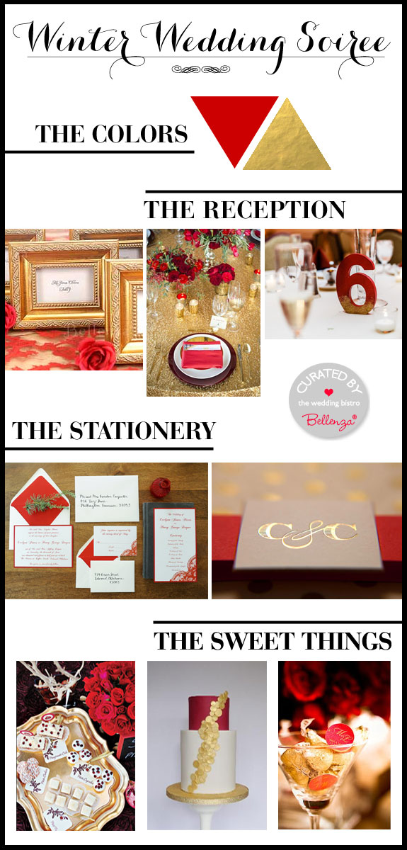 Red and Gold! A Festive Palette for a Modern Winter Wedding.