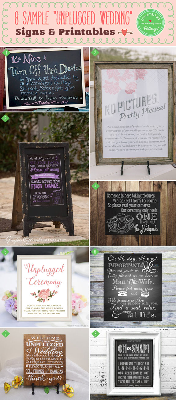 Unplugged Wedding Signs