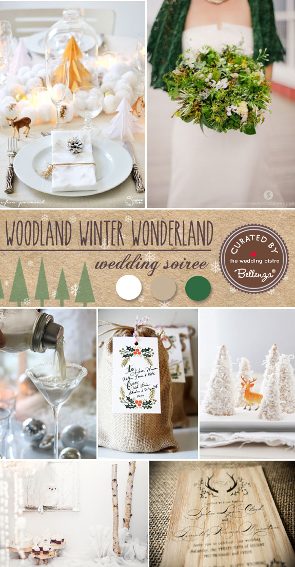 Woodland-inspired Winter Colors in White, Brown, and Pine Green // the Wedding Bistro at Bellenza