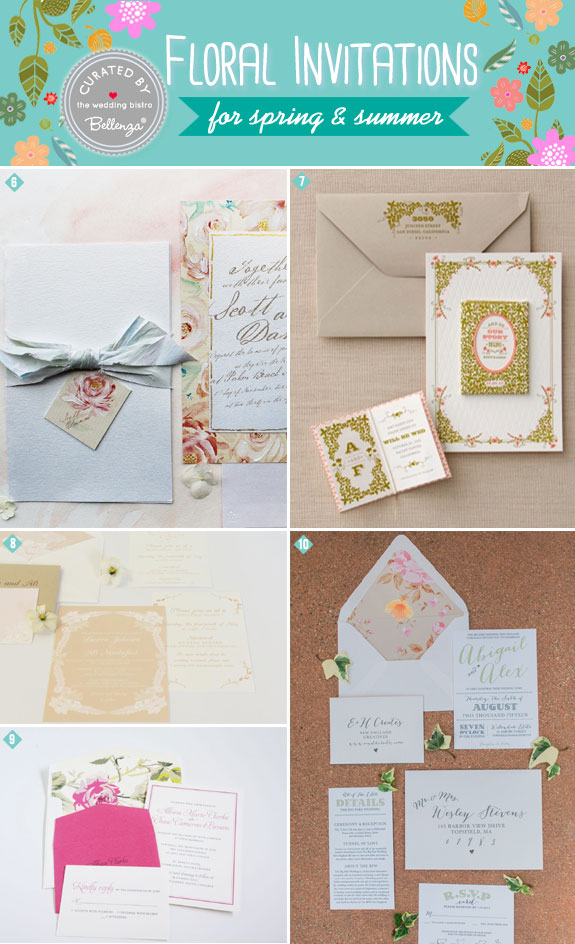 Floral invitations for summer and spring