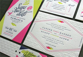 Colorful Custom Invitation Suite with Blind Impression, design by Scott Peiffer and printing by Studio on Fire