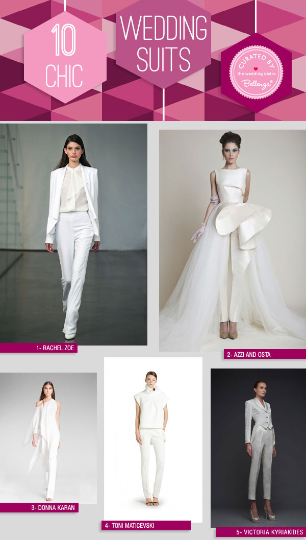 Wedding Suits in White. A Chic Style Option for the Modern Bride | Featured on the Wedding Bistro at Bellenza