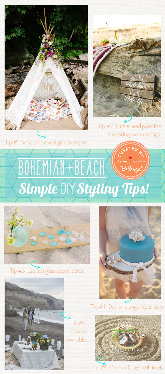 Bohemian Beach Weddings. DIY Decorations with a Can-Do Attitude! As Featured on Bellenza.