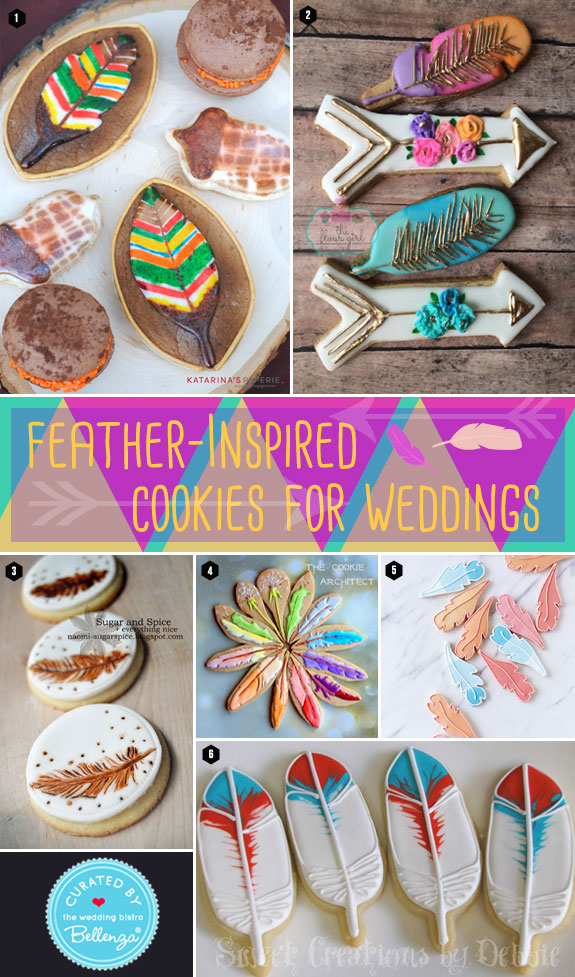 Feather Cookie Favors for a Boho, Tribal or Aztec-themed Wedding. Featured on The Wedding Bistro at Bellenza.