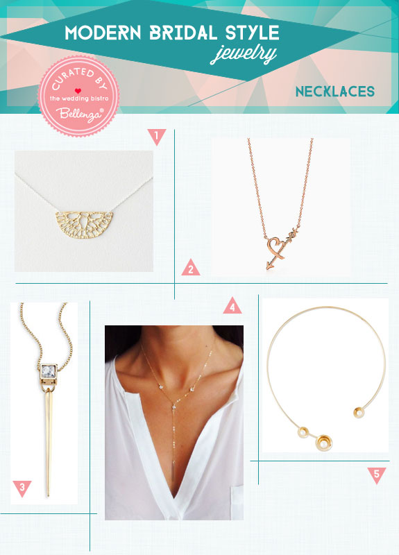 Modern Bridal Style for Minimalist Necklaces. Curated by Bellenza.