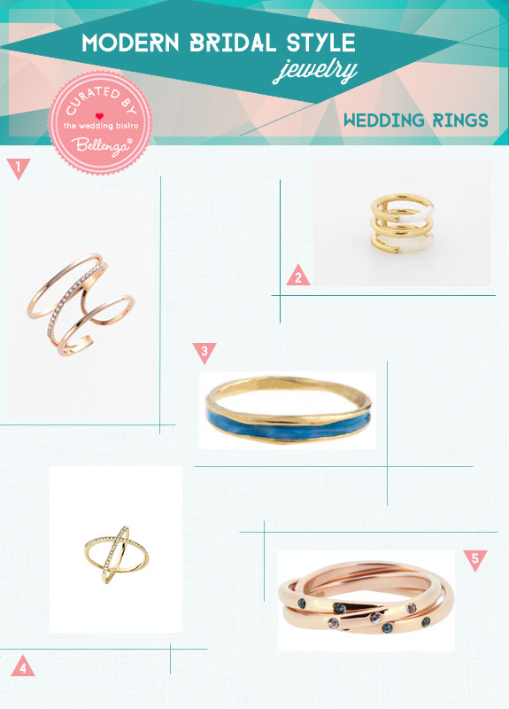 Modern Bridal Style for Minimalist Wedding Rings. Curated by Bellenza.