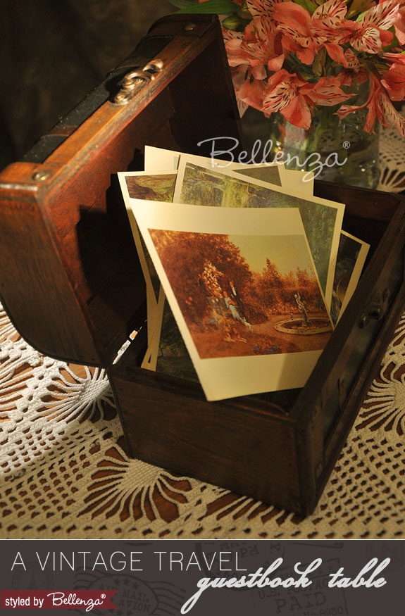 Old World-print postcards for a vintage travel vignette table.