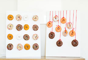Donut presentation ideas for weddings. Photo via You and Lu.