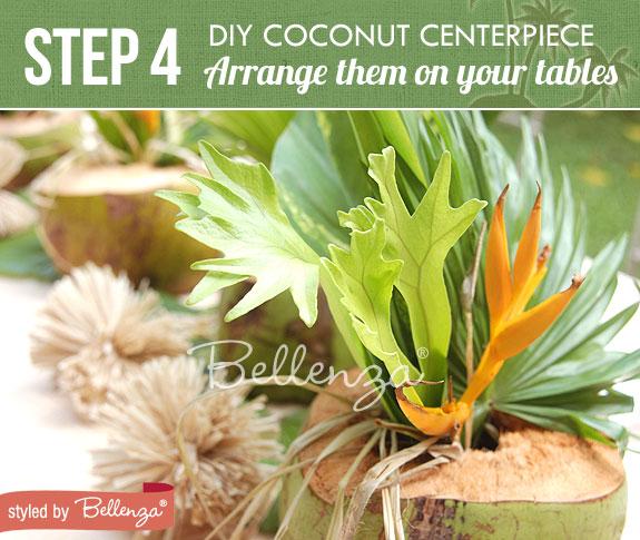 Step 4 - Position the foliage arrangements | Tutorial Tropical Centerpiece Using Coconuts | www.bellenza.com