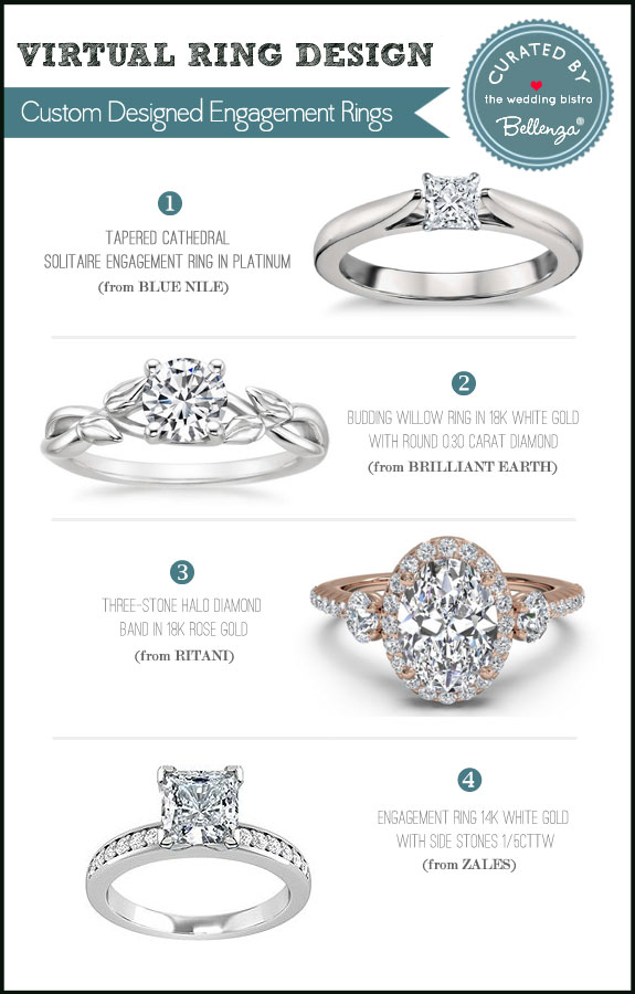Custom engagement rings that you can design yourself as featured on The Wedding Bistro at Bellenza.