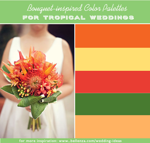 Hot orange, golden yellow, red coral, leafy green, salmon. Bright hues for a summer wedding.