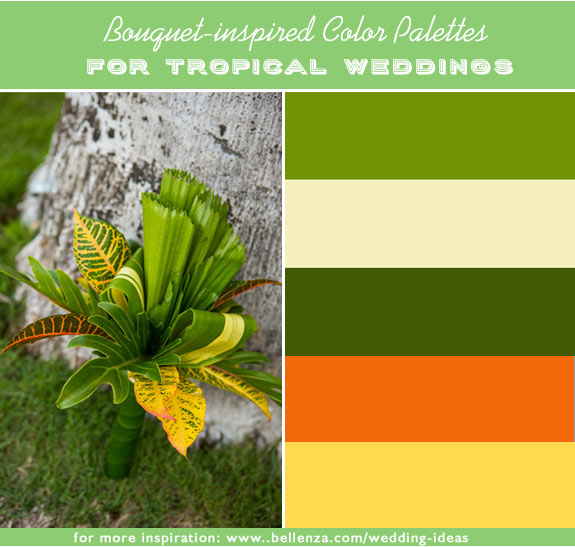 Chartreuse, ivory, leafy green, orange and golden yellow are tropical colors for summer weddings that are inspired by flowers.