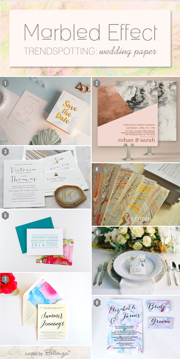 Marbling Effect. Trendy Ideas & Inspiration for Wedding Stationery   Curated by The Wedding Bistro at Bellenza.