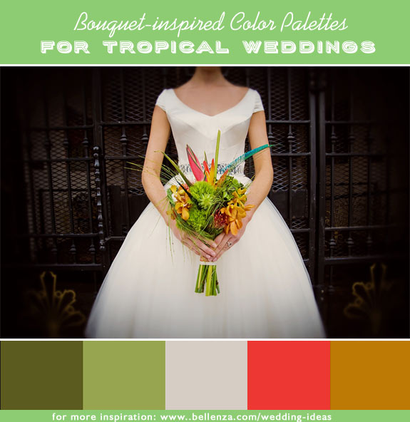 Olive, chartreuse, ivory, red coral, burnt orange that are for a summer wedding with a tropical style and theme.