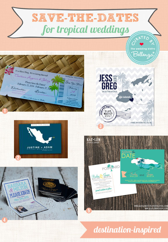 Save-the-dates for tropical weddings