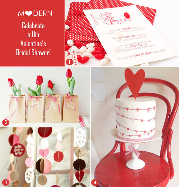 Valentine's Day modern bridal shower