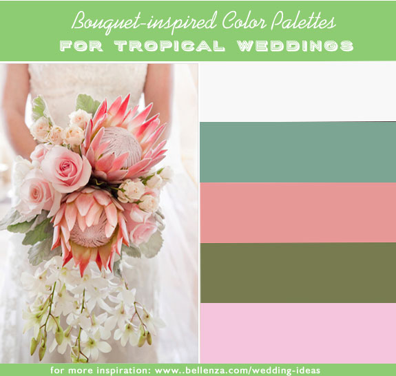 White, dusty miller green, grapefruit pink, jade green, and blush pink. Tropical color combinations for a wedding.