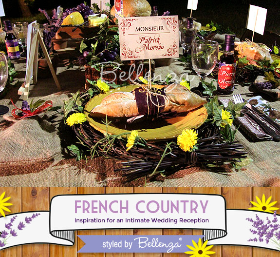 A French baguette place setting for a rustic French country wedding reception.