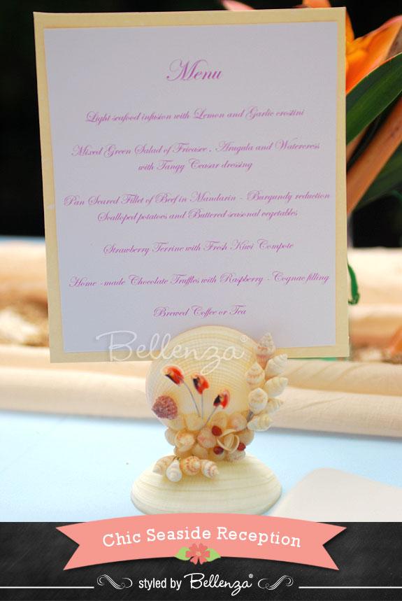 Seashell Card Holder for Menu Card Display Idea  - The Bellenza Wedding Blog