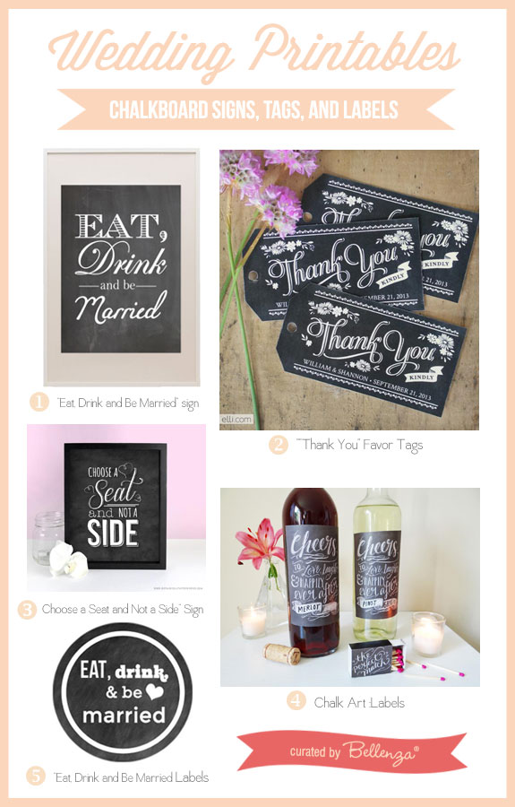 DIY Wedding Printables for Chalkboard Signs, Tags and Labels