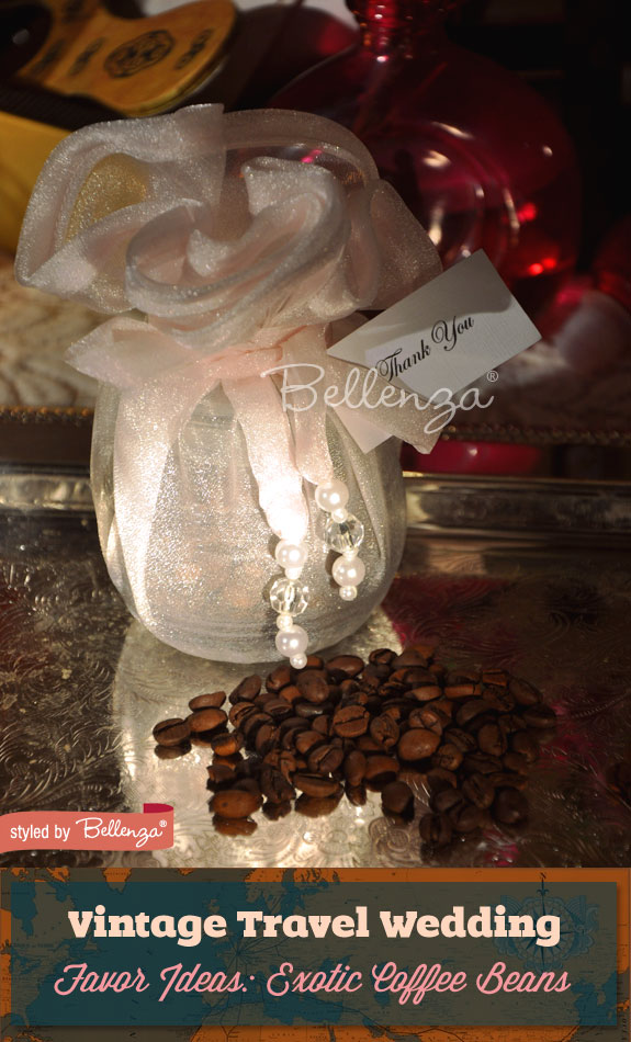 Give guests coffee beans from an exotic travel destination–great for a travel-loving bride and groom who love coffee!