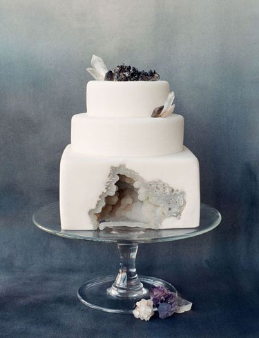 3-tiered White Fondant Geode Wedding Cake from Sainte G. Cake Company and photo by Corbin Gurkin.