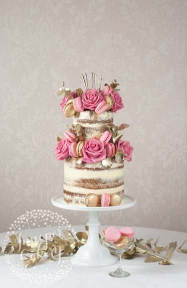 Semi-naked Wedding Cake | Cake by Juniper Cakery.