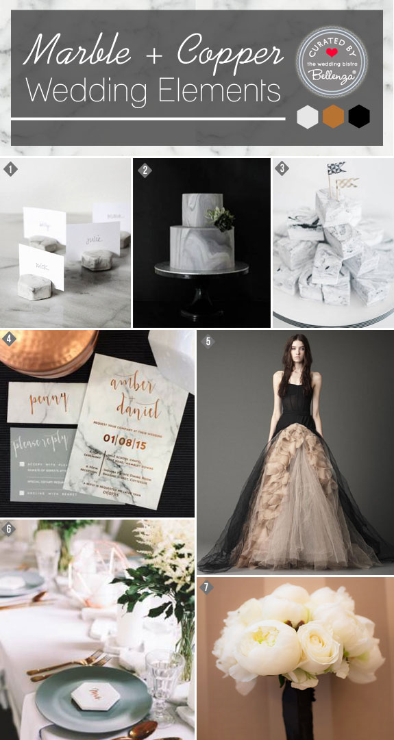 Marble and Copper in a Black Palette Wedding | Featured on the Bellenza Wedding Blog