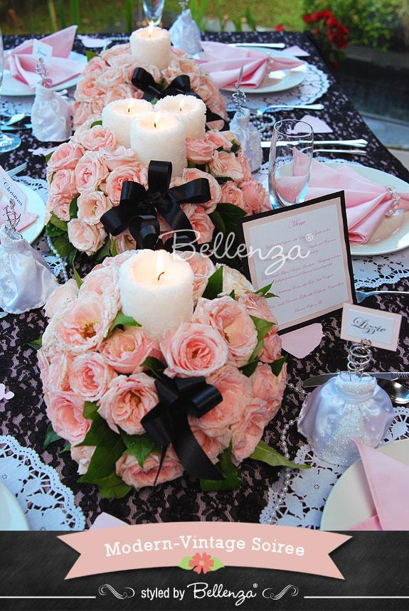 Pink and Black Vintage Menu Card Display - The Bellenza Wedding Blog