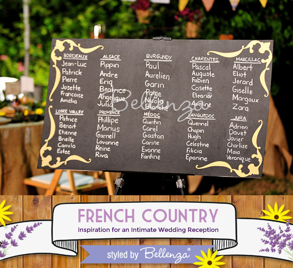 Rustic style chalkboard seating chart for French country theme.