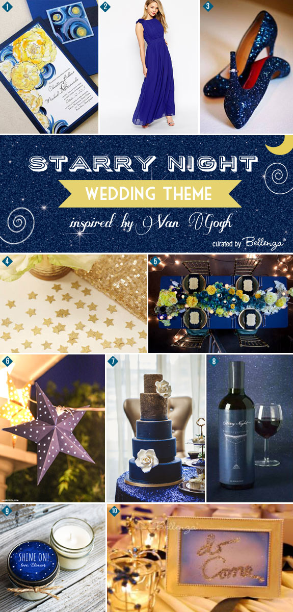 Starry Night by Van Gogh Wedding Inspiration Board from Bellenza