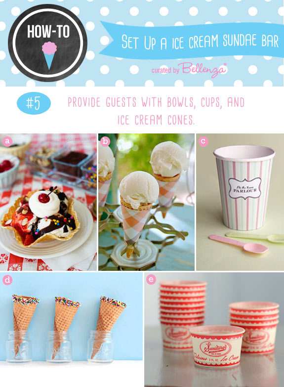 Sundae cones, cups, and bowls for serving ice cream sundaes at weddings.