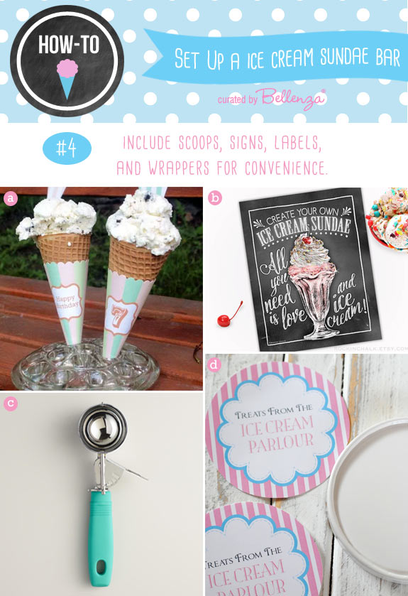 Ice cream sundae supplies for scoops, cone wrappers, and signs.