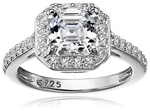 Platinum-Plated Sterling Silver Swarovski Zirconia Asscher Center Halo Ring
