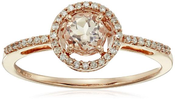 Morganite with Center Diamond Rose Gold Ring