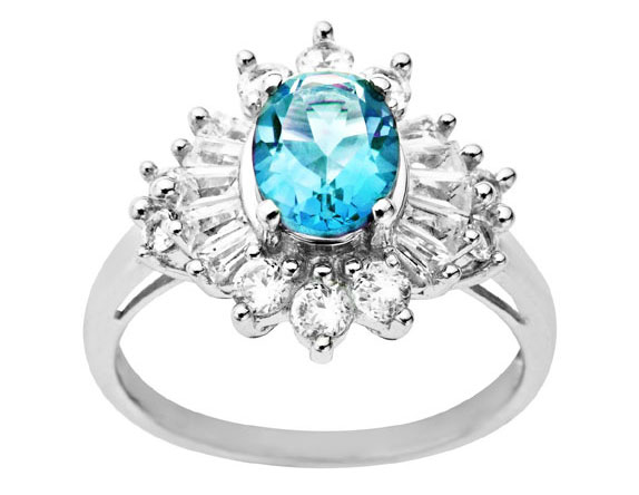 2 5/8 ct Blue Topaz and White Sapphire Ring in Sterling Silver from Jewelry.com