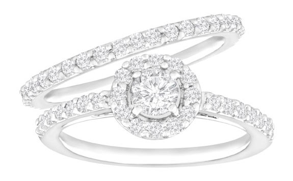 1 ct Diamond Halo Wedding Set in 14K White Gold from Jewelry.com