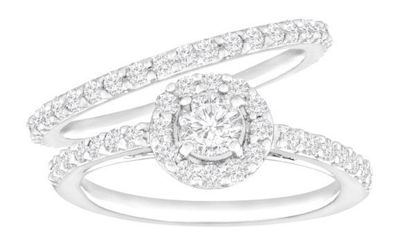1 ct Diamond Halo Wedding Set in 14K White Gold from Jewelry.com